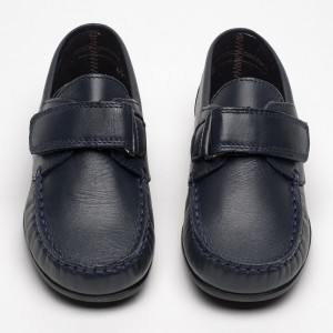 barnie velcro navy leather