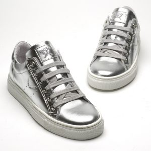 Belle silver trainer front