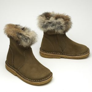 Calgary fur boot taupe side