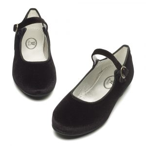 Avery black velvet buckle shoe